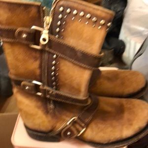 Brown real leather boots
